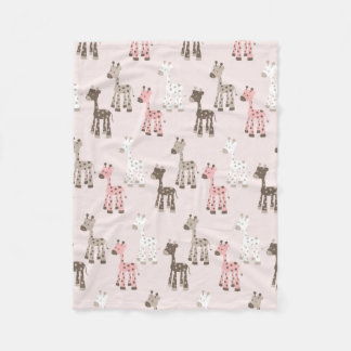 Beautiful Baby Pink Giraffe Fleece Blanket