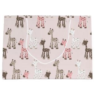 Beautiful Baby Pink Giraffe Large Gift Bag
