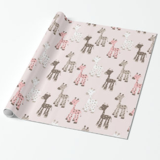 Beautiful Baby Pink Giraffe Wrapping Paper
