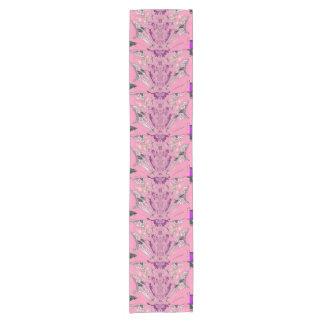 Beautiful baby pink  purple shade colorful motif short table runner