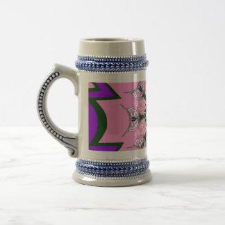 Beautiful baby pink  purple shade motif monogram beer stein
