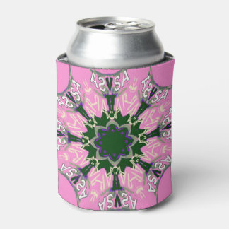 Beautiful baby pink  purple shade motif monogram can cooler