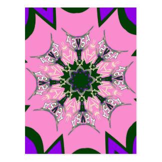 Beautiful baby pink purple shade motif monogram de postcard