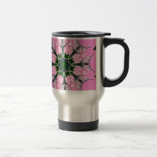 Beautiful baby pink purple shade motif monogram de stainless steel travel mug