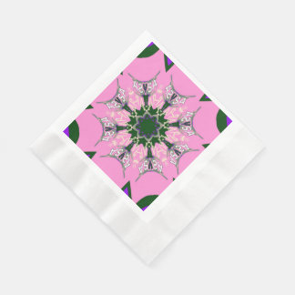 Beautiful baby pink  purple shade motif monogram disposable napkin