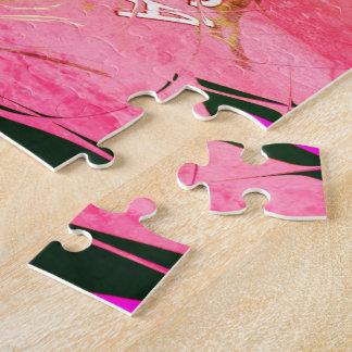 Beautiful baby pink  purple shade motif monogram jigsaw puzzle