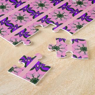 Beautiful baby pink  purple shade motif monogram puzzles