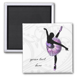 Beautiful Ballerina in purple Square Magnet