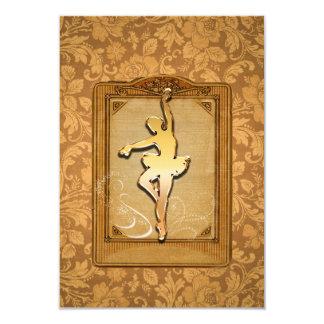 Beautiful ballerina on decorative frame 9 cm x 13 cm invitation card