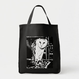 Beautiful Barn Owl in a Black & White Graphic Grocery Tote Bag