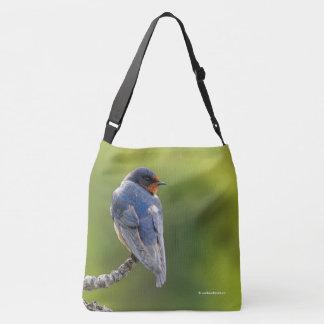 Beautiful Barn Swallow on a Branch Crossbody Bag