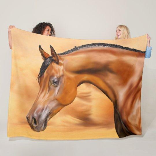 Beautiful Bay Arabian Horse Fleece Blanket