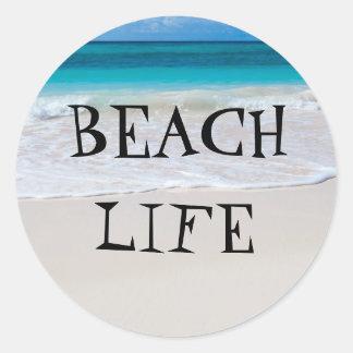 Beautiful Beach Life Classic Round Sticker