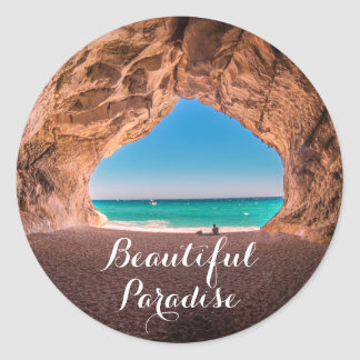 Beautiful Beach Paradise Classic Round Sticker