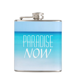 Beautiful Beach Paradise Now Hip Flask