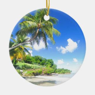Beautiful beach round ceramic decoration