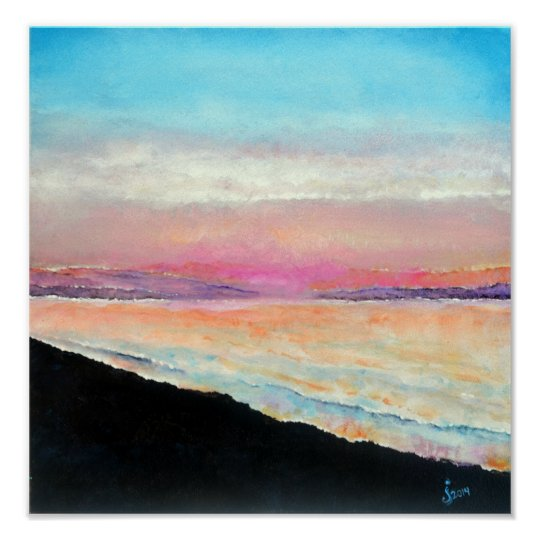 Beautiful Beach Sunset Painted In Soft Pastels Poster