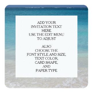 Beautiful Beach   Turks and Caicos Photo 13 Cm X 13 Cm Square Invitation Card