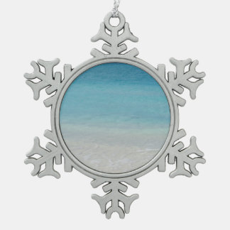 Beautiful Beach | Turks and Caicos Photo Snowflake Pewter Christmas Ornament
