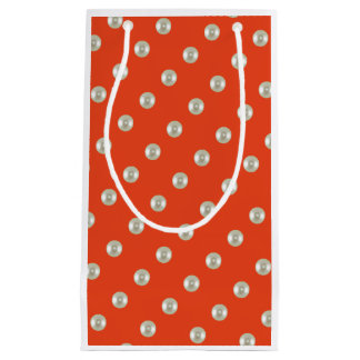 Beautiful beads on red orange small gift bag