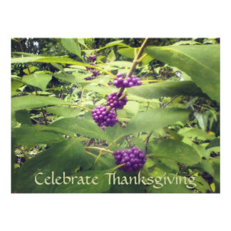 Beautiful Beauty Berry Thanksgiving Botanical Custom Invites
