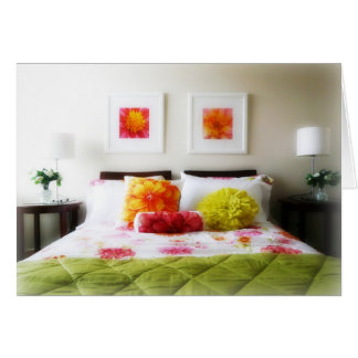 Beautiful Bed and Bedroom Decor Greeting Card