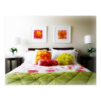 Beautiful Bed and Bedroom Decor Postcard