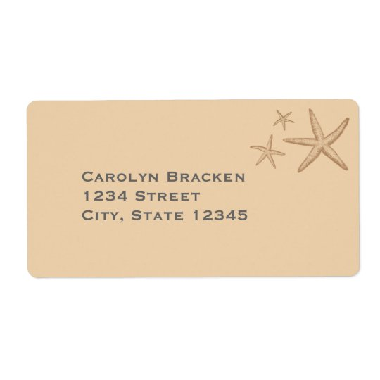 Beautiful Beige Beach Starfish Shipping Label