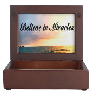 BEAUTIFUL BELIEVE IN MIRACLES SUNRISE DESIGN KEEPSAKE BOX