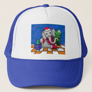 Beautiful Bell-Ringing Cartoon Santa Elephant Trucker Hat