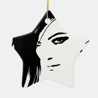 Beautiful Belle Model Face Ceramic Star Decoration