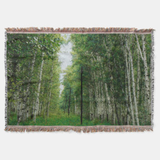 Beautiful Birch Tree Forest Throw Blanket
