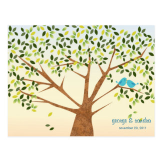 Beautiful Bird Tree Wedding Invitation Postcard