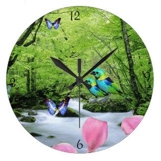 Beautiful birds and butterflies landscape Clock