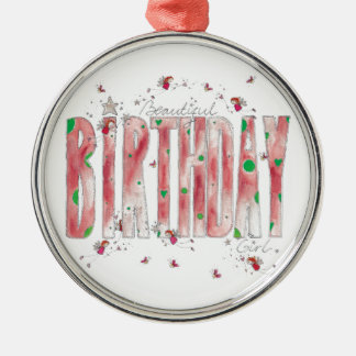 Beautiful Birthday Girl Silver-Colored Round Decoration