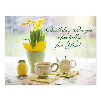 Beautiful Birthday Prayer Tea and Daffodils Postcard