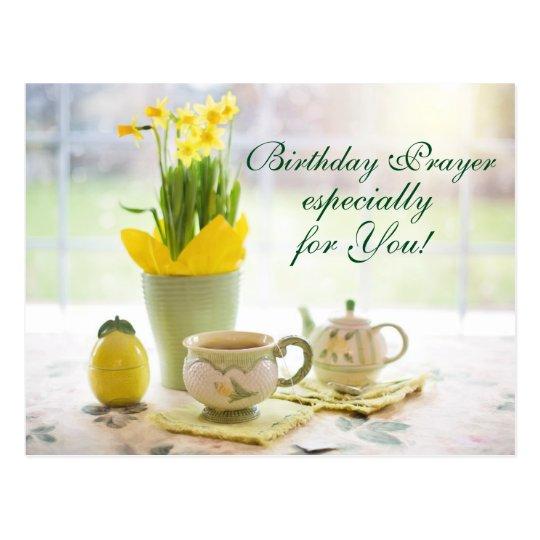 Beautiful Birthday Prayer Tea and Daffodils Postcard