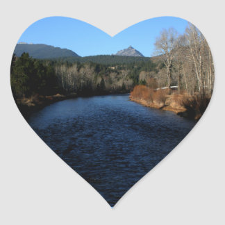 Beautiful Bitterroot River Landscape Heart Sticker