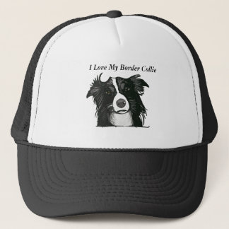 Beautiful Black and White Border Collie Trucker Hat