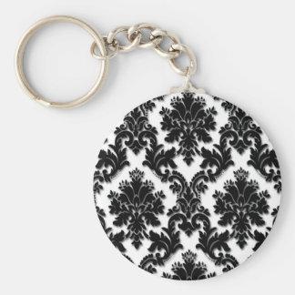 Beautiful Black and White Damask Pattern Key Ring