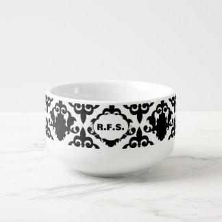 Beautiful Black and White Damask Soup Mug