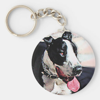 Beautiful Black and White Dog Key Chain