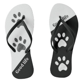 Beautiful Black and White Paws Flip Flops