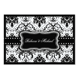 Beautiful Black and White Vintage Damask 9 Cm X 13 Cm Invitation Card