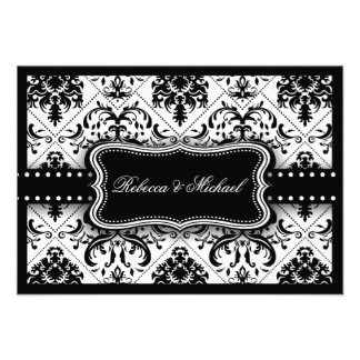 Beautiful Black and White Vintage Damask Personalized Announcement