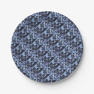 Beautiful black & blue lace fabric detail. 7 inch paper plate