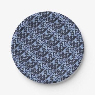 Beautiful black & blue lace fabric detail. paper plate