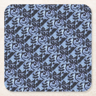 Beautiful black & blue lace fabric detail. square paper coaster