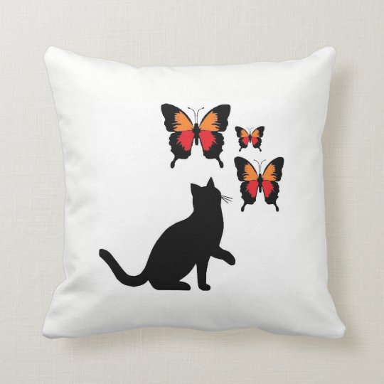 Beautiful Black Cat And Butterflies Pillow. Cushion