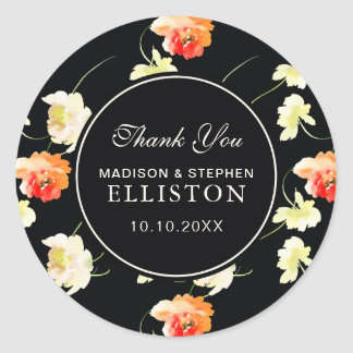 Beautiful Black Floral | Thank You Classic Round Sticker